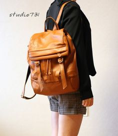 Etsy の Supple Leather Backpack Tan Brown by studio731