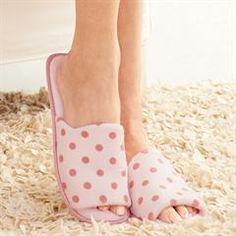 Memory Foam Polka Dot Print Slipper - FIND super cute shoes at http://thinkbeautytoday.com/avon-2016-brochures/avon-catalogs/