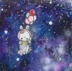 Space Bunny With Balloons- To The Moon-  20x20 Kids Room Art Girls Nursery Art Sailor Moon Rabbit Cute Astronaut Baby Canvas Wall Original by Pajamasquid on Etsy
