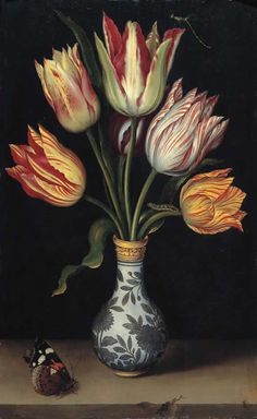 "Ambrosius Bosschaert, the Elder ""Tulips in a Wan-Li Vase"", 1619 (The Netherlands, Baroque / Dutch Golden Age, cent. Art Floral, Motif Floral, Tulip Painting, Dutch Golden Age, Dutch Painters, Still Life Art, Botanical Prints, Flower Art, Renaissance"