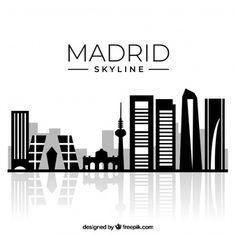 Skyline Madrid, Skyline Design, City Logo, Skyline Silhouette, Countries Of The World, Logo Design, Wall Art, Wallpaper, Vector Freepik