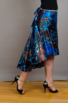 Blue butterfly tango wrap skirt long by TangoSkirt on Etsy, $60.00