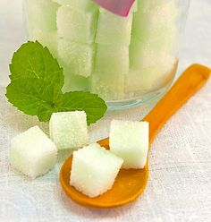 Mint Flavored Sugar Cubes in Glass Sugar Bowl for Tea Parties, Champagne Toasts, Favors, Coffee, Tea, Berries, Cider, Lemonade