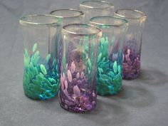 Shot Glasses set of six green and purple