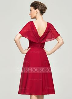 A-Line/Princess V-neck Knee-Length Ruffle Zipper Up Sleeves Short Sleeves No 2015 Burgundy Spring Summer Fall General Plus Chiffon Mother of the Bride Dress Couture Mode, Style Couture, Couture Fashion, Satin Dresses, Bride Dresses, Chiffon Dress, Cocktail Gowns, Elegant Outfit, Wedding Party Dresses