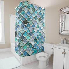 Shop Aqua Pink Mermaid Glitter Scales- Mermaid Scales Shower Curtain created by UtART_HOME. Personalize it with photos & text or purchase as is! Mermaid Bathroom Decor, Mermaid Home Decor, Mermaid Bedroom, Diy Bathroom, Beachy Bathroom Ideas, Master Bathroom, Ocean Bedroom, Sea Nursery, Bathroom Marble