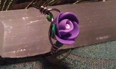 Ring Purple Flower small green seed beads size by CherylsGoodStuff, $6.00
