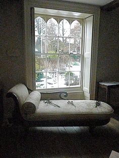 The view from the Gothick Window in the Drawing Room at Jane Austen's House, at Chawton Cottage