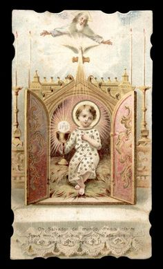 Vintage holy card depicting Infant Christ in the Tabernacle
