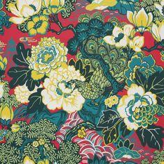 Schumacher SHANGHAI PEACOCK CERISE Wallpaper