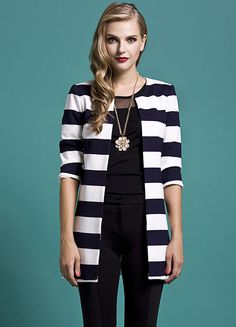 Navy White Striped Half Sleeve Outerwear