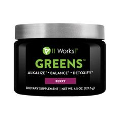 Greens™ – Berry | It Works -  Not eating all of the fruits and veggies that you should? Feeling sluggish and off balance? Want more energy to get through your day? Help detoxify, alkalize and energize your body with every glass of Greens, now with an even better pH-balancing blend that includes an acidity-fighting combination of magnesium and potassium for even more alkalizing properties. The added probiotic support helps you better maintain that healthy balance.