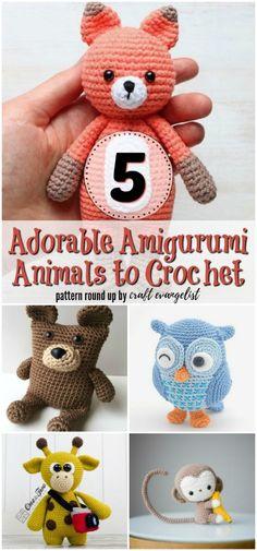 5 Adorable Amigurumi Animals to Crochet. A crochet pattern round up by craft evangelist Crochet Patterns Amigurumi, Crochet Dolls, Crocheted Toys, Cute Crochet, Knit Crochet, Crochet Projects, Sewing Projects, Crochet Crafts, Crochet Ideas