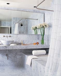 Marble Bathroom - slab like this would be perfect under the square sink