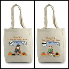 Trick or Treat cloth bags. Personalize with name and design head and hair style. # Halloween #pesonalizedgifts #shopjg #jggifts # halloweenfun