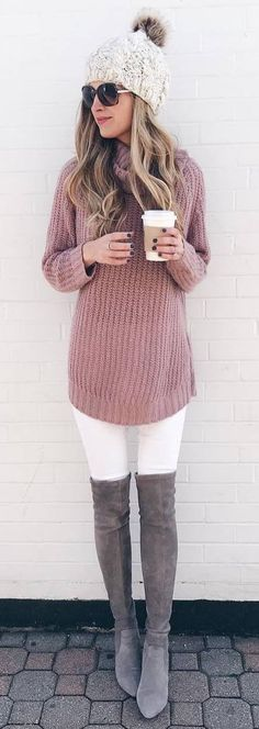 fashionable winter outfit _ hat + knit sweater + white skinnies + over knee boots