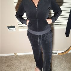 Juicy Couture Athletic  Warm Up Suit Size L New with tags.  Size L plush gray.  Juicy couture warm up suit  pants have 4 pockets, drawstring ,.  hoodie has 2 side pockets.  A great looking outfit! Juicy Couture Other