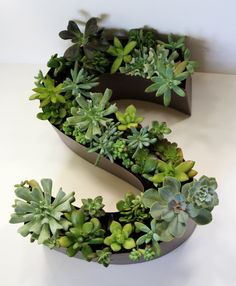 CUSTOM MADE - Monogram Succulent Planter - Painted Salvaged Channel Letter - Unique gift, wedding decoration - home garden decor - upcycled - housewarming