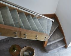 At Jarrods we offer contemporary glass staircases that are coloured, etched, or cracked effect. Metal Railings, Glass Railing, Stair Railing, New Staircase, Staircase Design, Staircase Contemporary, Modern Contemporary, Wooden Staircases, Stairways