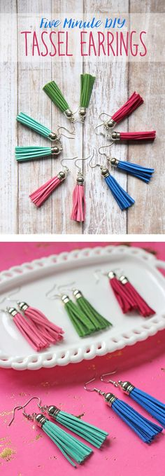 Easy DIY tassel earrings perfect for beginners. Handmade jewelry tutorial diy jewelry making DIY Easy Tassel Earrings Tutorial Handmade Jewelry Tutorials, Handmade Necklaces, Handmade Jewellery, Diy Schmuck, Schmuck Design, Wire Jewelry, Jewelry Crafts, Jewellery Box, Jewellery Shops