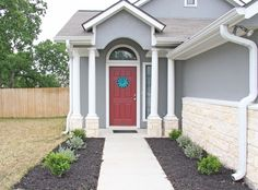 cute entrance - gray with red door