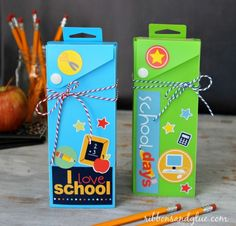 Easy altered Pencil Boxes by @ribbonsandglue using @pebblesinc stickers.