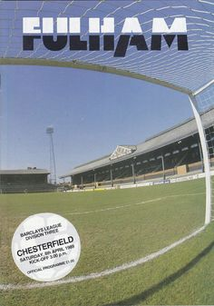 Fulham 2 Chesterfield 1 in April 1989 at Craven Cottage. The programme cover #Div3
