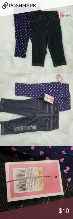Lot of 12M Jeggings 2 Pieces [004] 2 pair of New with tags jeggings. Hearts and dark blue denim. Can not alter lot but can bundle with other items in my closet. Retail $9 each.  BUNDLE your likes and shoot me and OFFER! Glad to negotiate. Hundreds of items available for discounted bundle offers!  Follow on IG: @the.junk.drawer Circo Bottoms Leggings