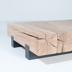 Whitewashed timber coffee table - BEAM SALONTAFEL