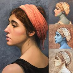"""""""Megan"""", oil on linen. Step by step demo. Curious about this technique? My eBooks available on my website icuong.com #arttutorial #art #oil #oilpainting #realism #realistic #portrait"""