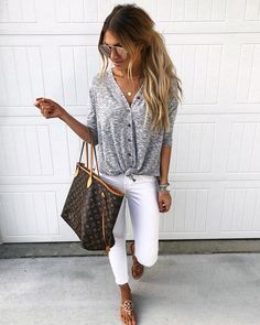 Heading to our fave Mexican restaurant tonight! The perfect light-weight grey button down + white skinnies ($69) @liketoknow.it…