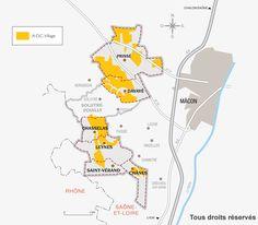 Cartographie de l'appellation village du vignoble du Mâconnais en Saône-et-Loire. Cette appellation peut être suivie du nom du Climat d'où provient le vin. Communes de production : Chânes, Chasselas, Davayé, Leynes, Prissé, Saint-Vérand*, Saint-Amour Bellevue et Solutré-Pouilly. #saintveran