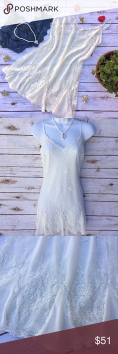 Delicates Lacy Off-White Slip or Short Gown Pretty like a dream! Beautifully detailed lace over a sheer liner; has adjustable spaghetti straps. Lining is 100% polyester; shell is 100% nylon. Size S, measures about 15 inches across the bust and about 28 inches in length. Delicates Intimates & Sleepwear