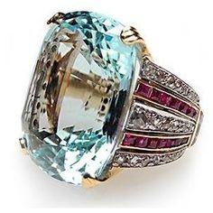 Retro Vintage Cocktail Ring Aquamarine Ruby & Rose Cut Diamond (((Gasp!))) thou shalt not covet, thou shalt not covet.....