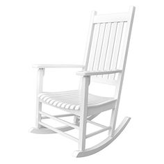 Trex Outdoor Furniture Yacht Club Classic White Plastic Stationary Rocking Chair(s) with Slat Seat at Lowe's. You don't have to be on a yacht to enjoy the gentle rocking of the waves. The Trex® outdoor furniture™ Yacht Club Rocking Chair will White Rocking Chairs, Outdoor Rocking Chairs, Cool Chairs, Patio Chairs, Bag Chairs, Patio Dining, Dining Set, Dining Table, Plastic Rocking Chair