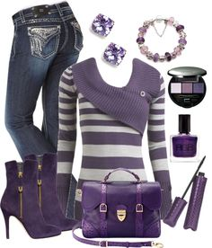"""""""PURPLE"""" by stay-at-home-mom ❤ liked on Polyvore Mode Outfits, Stylish Outfits, Winter Outfits, Fashion Outfits, Womens Fashion, Stylish Clothes, Purple Fashion, Look Fashion, Mode Rockabilly"""
