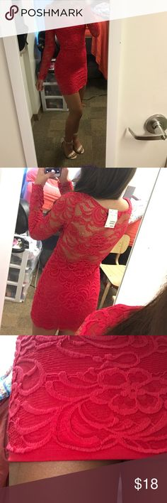 NWT H&M mini red lace dress H&M see through-back scalloped lace red dress! Super cute for a night out or a date! This dress fits your body like a glove, but is surprising comfortable. Sleeves aren't tight on me at all, but I have really skinny arms so someone with average sized arms would fit fine. Dress is also awesome because it's so tight you don't have to wear a bra, plus the material is thicker so you won't have to worry about anything showing. I loved the dress, I just didn't like how…