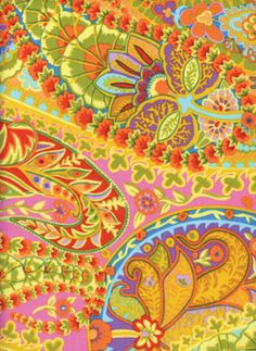 Kaffe Fassett Westminster Paisley Jungle fabric ✫♦๏༺✿༻☼๏♥๏花✨✿写☆☀🌸✨🌿✤❀ ‿❀🎄✫🍃🌹🍃❁~⊱✿ღ~❥༺✿༻🌺☘‿TH May ♥⛩⚘☮️ ❋ Textile Patterns, Textile Design, Fabric Design, Quilt Patterns, Westminster, Flower Band, Free Spirit Fabrics, Inspirational Artwork, Quilt Kits