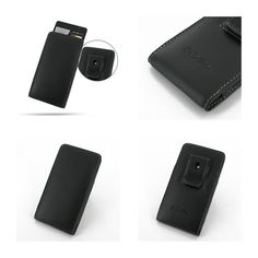 PDair Leather Case for Huawei Ascend P6 - Vertical Pouch Type Belt Clip Included (Black)