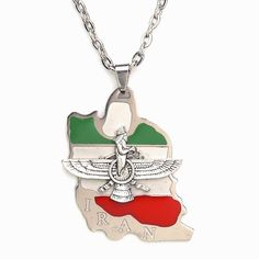"Iran Flag Map Faravahar Necklace Iranian Persian Zoroastrian Farvahar Persia Chain (18"" Chain). Iran Flag And Farvahar Charm And Chain. High Quality 316k Stainless Steel,Lead And Nickel Safe , Never Tarnish Never Change Color. Comes With Free Chain Or Leather String As A Gift , Choose The Size You Like. Something Unique And Eye Catching , Nice Gift For Someone Special. You Will Love It Otherwise Return It For Full Refund ..Feel Free To Contact Me For Any Reason."