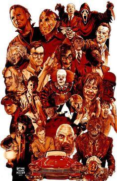 Horror Icons The Artwork of Nathan Thomas Milliner Horror Movie Poster Fan Art Horror Movie Characters, Horror Movie Posters, Horror Movies, Horror Villains, Comedy Movies, Film Posters, Horror Artwork, Horror Monsters, Horror Icons