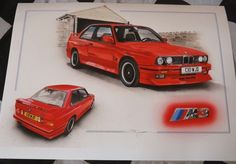 BMW M3 EVOLUTION EVO E30 1988 LIMITED EDITION PAINTING PRINT ARTWORK BRAND NEW Artwork Prints, Painting Prints, Bmw E30, Car Drawings, Limited Edition Prints, Evolution, Badge, Hand Painted, Brand New
