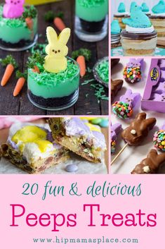 If you love Peeps, make a few of these 20 Fun and Delicious Peeps Treats and make your Spring and Easter celebrations even more fun and festive! Easter Snacks, Easter Treats, Easter Recipes, Holiday Recipes, Dessert Recipes, Desserts, Easter Bunny Cupcakes, Easter Cookies, Easter Dirt Cake Recipe