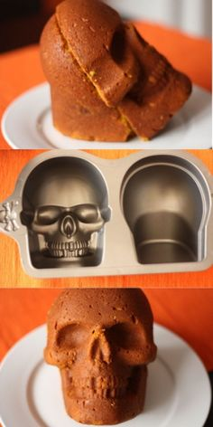 I totally want this.I'd be baking skull cupcakes all year long.forget just Halloween. Bolo Halloween, Halloween Cakes, Halloween Treats, Skull Cake Pan, Skull Cakes, Fancy Cakes, Cake Tutorial, Cake Mold, Cake Pans