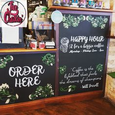 The full front counter chalkboard feature at Lady Marmalade Cafe in Stones Corner.