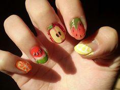 Various of Fruit in Food Nail Art Designs
