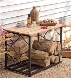 Our outdoor storage table is work surface and wood storage in one. Patio table is made from eucalytus and painted steel. Outdoor storage bin keeps wood handy. Outdoor Storage Bin, Patio Storage, Table Storage, Storage Ideas, Storage Solutions, Outdoor Side Table, Patio Table, A Table, Door Table