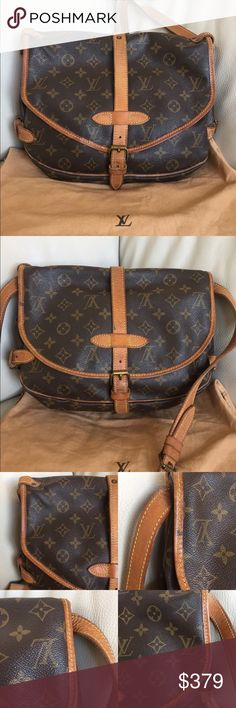 "💯Authentic Louis Vuitton Saumur 30 vintage bag Beautiful vintage! Cross body bag. Leather straps and trims have cracks, dirty stains, got darker over the years and show wear. Inside is clean. Monogram canvas is intact. Measurements: 11W x 9.5H x 4D"" - straps: 19.3-23.2"" - made in France in September, 1990 - Date code: AR0990 - comes with dust bag - check pictures for signs of wear. 100% Authentic Louis Vuitton Bags Crossbody Bags"