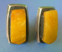 Vintage Retro USSR men Jewelry Yellow Baltic Amber Silver 875 Cufflinks marked