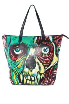 Iron Fist Ladies Skin Crawler Zombie Bones Tote Bag Purse - Black